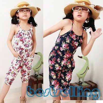 1PC Vogue Kids Baby Girls Jumpsuit Summer Floral Sleeveless Romper Pants Clothes