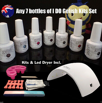 36W Uv Lamp 7 Bottles Uv Gelish Soak Off Gel Nail Polish Full Kits Set I DO IDO