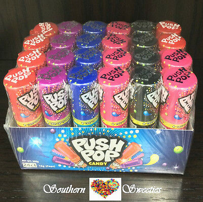 PUSH POPS  24 x LOLLYPOPS LOLLIPOPS BULK CANDY LOLLIES FUN POP FLAVOURS