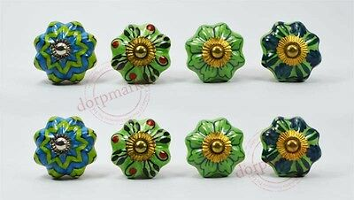 16Pcs Dotted Green & Multi Color Kitchen/dress CeramicKnobs Cupboard drawer Pull