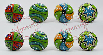 16 Pieces Dotted Green,red Multi color  Kitchen / dress Ceramic Knobs Cupboard