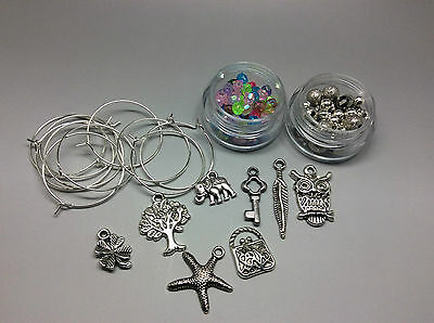 Wine Charm Making Kit, Tibetan Silver Charms Jumprings Assorted Beads Makes 8