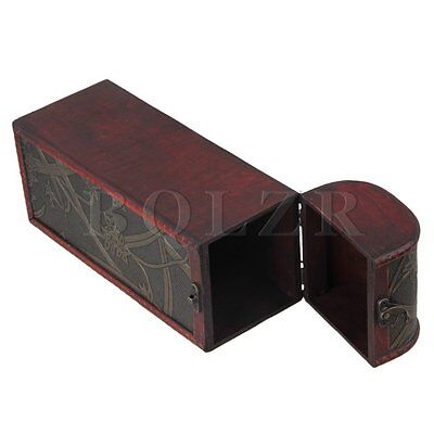Rectangle Wood Wine Box for Single Bottle Wine Holder Retro Daffodil Pattern