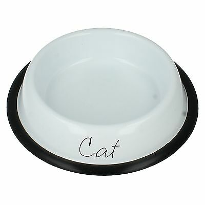 Lp27894 Home Sweet Home Food Feeding White Metal Pet Cat Bowl Lesser & Pavey