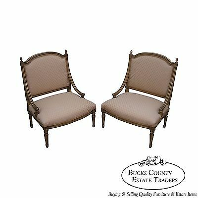 Quality Pair of French Louis XV Style Painted Slipper Chairs