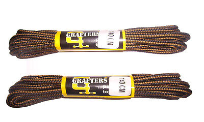 Strong Boot Laces 140Cm Black/brown - 2 Pairs - Grafters - *free Delivery*