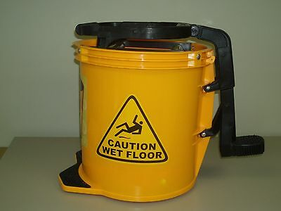 Mop Bucket 16 L with Brass Rollers and Foot Operated Squeegie