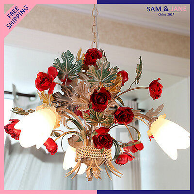 New Colorful LED Chandelier Garden Flowers Ceiling Fixture Ceramic Rose Wedding • CAD $402.22