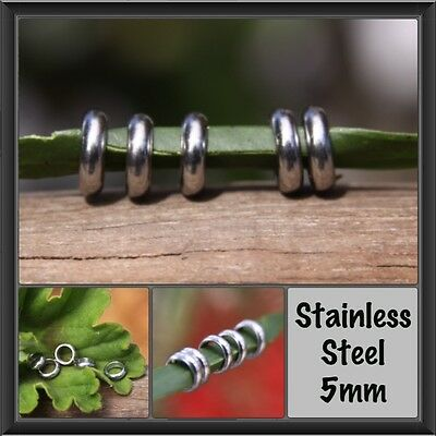 20 Stainless Steel Rings Dreadlock Beads 5mm Hole (3/16 Inch) Dread Hair Beads