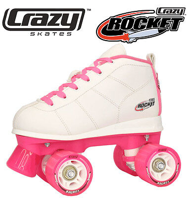 Gen4 Crazy Rocket Junior Kids Recreational Roller Skates - White & Pink Size 28