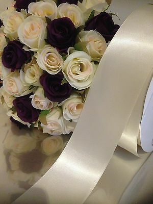 IVORY SATIN Wedding Car Ribbon 50 MM  X 10 Mtr Double Face FLAT PACKED FREE POST