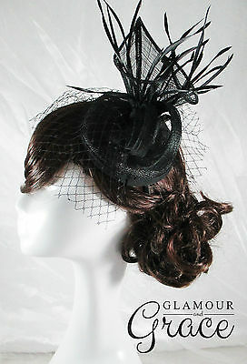 Dahlia black sinamay fascinator races hat Melbourne Cup Spring Carnival Derby