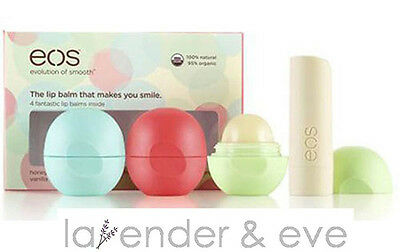 New EOS Smooth Lip Balm Sphere 4 Flavor Multi-Pack 100% Authentic