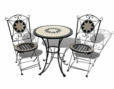 Mosaic Bistro Table with Two Folding Chairs - 2 Seater & Table Set