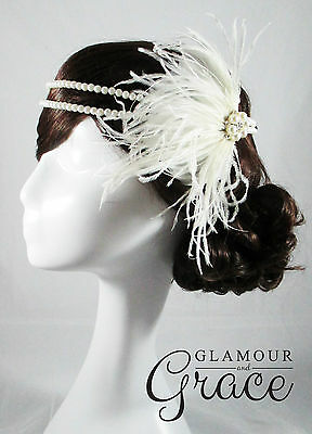 Vintage wedding Gatsby 1920s Flapper ivory headband feather fascinator headpiece