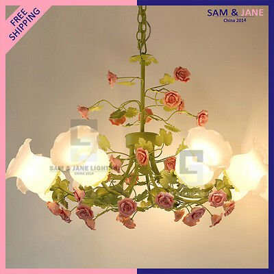 New Colorful LED Chandelier Garden Flowers Ceiling Fixture Ceramic Rose Wedding • CAD $539.28