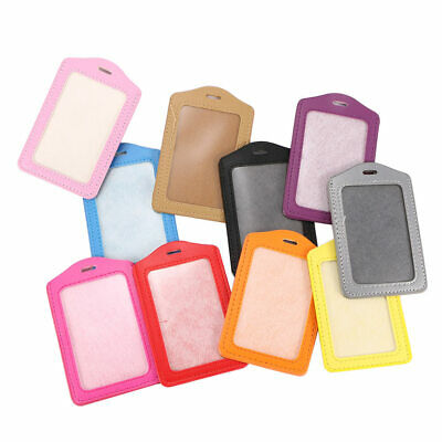 New Vertical ID Badge Holder Vinyl Case Clear with Color Border