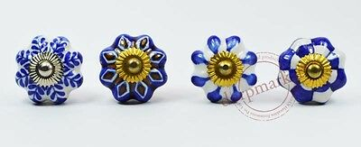 16Pcs Blue With White Mix Color Kitchen/dress Ceramic Knobs Cupboard drawer Pull