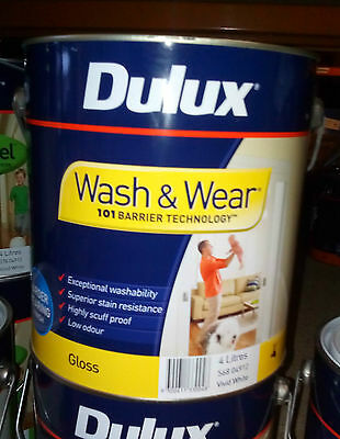 DULUX Wash & Wear Gloss 4 litre white paint CAN FREIGHT WATER BASED