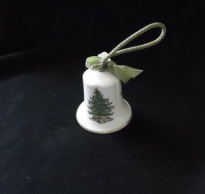 Spode Christmas Tree Bell Ornament - Green Braided Cord