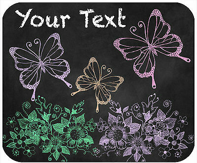 Mouse Pad Custom Personalized Thick Mousepad-Chalkboard Look Butterflies/flowers