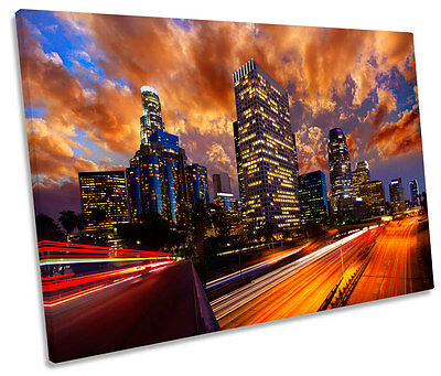Los Angeles Sunset Skyline California  SINGLE CANVAS WALL ART Picture Print