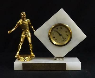 Beautiful 1963 white marble with Clock figural wrestling trophy!