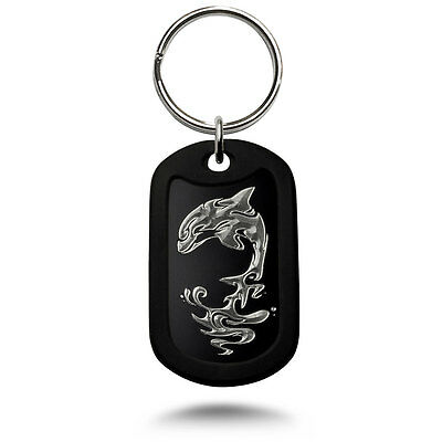 Aluminum Dog Tag Key chain, Dog Tag  Key Chain with Dolphins Design Made in USA