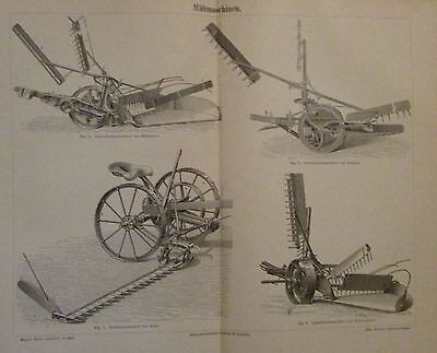 1896 MÄHMASCHINEN Original Druck Antique Print Lithographie