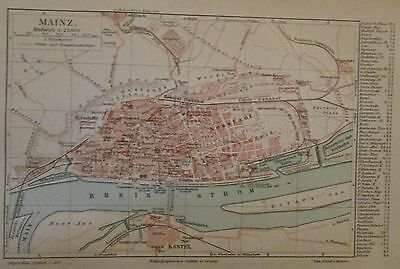 1896 Mainz Deutschland alte Landkarte Stadtplan Antique City Map Lithographie
