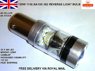 1 X 100W Ba15S 382 P21W Cree Xbd 8000K White Led Stop Reverse Light Canbus* Bulb