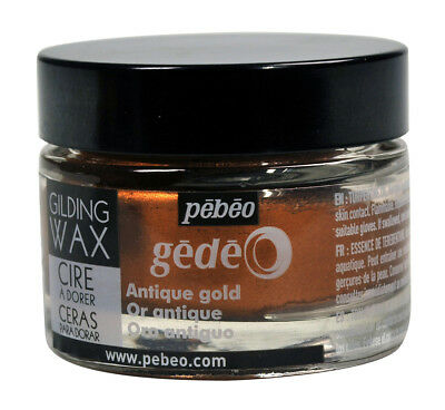 Pebeo Gedeo Metallic Gilding Wax 30ml Jar for Art, Craft, Decor - Antique Gold