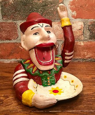 Cast Iron Jolly Jester Clown Vintage Nutcracker with Shell Dish