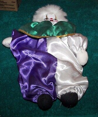 """NEW Porcelain Harlequi 12"""" New Pierrot Accents Clown/Jester New~FREE SHIPPING~"""