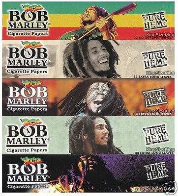 BOB MARLEY Kingsize Pure Hemp Rolling Papers King Size Paper Set 5 Packs