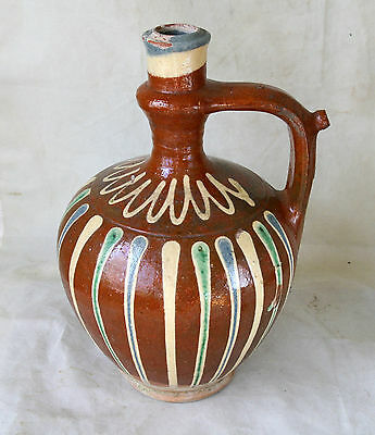 ANTIQUE 19`c Ottoman REDWARE Pottery Glazed Ceramic Water PITCHER JUG EWER #10