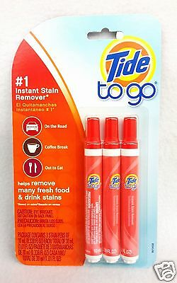 3 PENS Tide To Go #1 INSTANT STAIN REMOVER Food Drink Coffee Work Travel 10mL ea