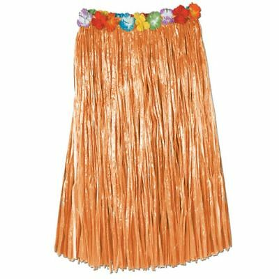 Luau Party Natural Hula Skirt Artificial Grass w/ Floral Waist Adult Size