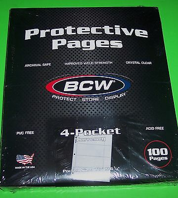 """100 PRO 4-POCKET CURRENCY PAGES FOR SMALL BILLS-ACID FREE-2 5/8"""" x 6 1/8"""" BILLS"""