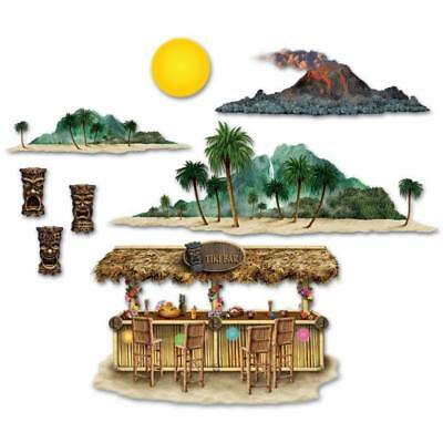 Luau Tiki Bar & Island Props Backdrop Acc.