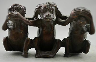 Collectible Decorated Old Handwork Red Copper Carved 3 Monkey Moods Statue