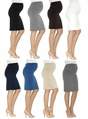 Maternity Rock Pregnancy Pencil Skirt Skirt Midi Stretch over belly Umst