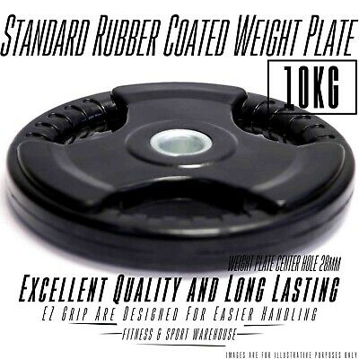 Easy Grip 10Kg Rubber Coated Weight Plate/Plates Home Gym Hand Strength Workout