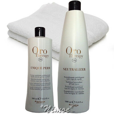 Perm Kit Stabilized Neutralizer 1000ml + Unique Lotion 500ml 24k Oro Therapy ®