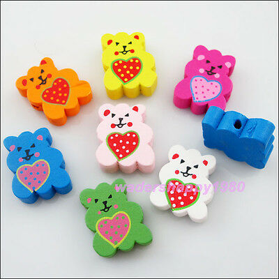30Pcs New Charms Mixed Wood Animal Heart Bear Spacer Beads 16x19.5mm