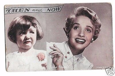 """Jane Powell """"Then & Now"""" vintage arcade card c.1950"""