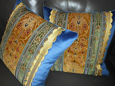 Throw pillows vintage antique cut velvet fabric blue gold Custom new PAIR