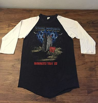 Vintage The Who America American Tour '82 3/4 Sleeve Concert Tour T-Shirt Black