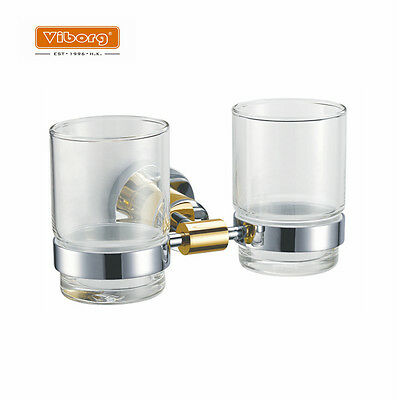 Luxury Brass Wall Mounted Double Toothbrush Cup Tumbler w/ Holder Chrome+K Gold