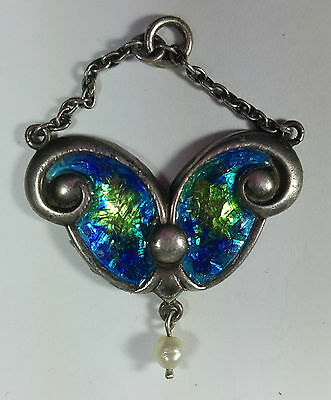 Lovely Original Art Nouveau Silver Enamelled Blue/green Pendant With Pearl Drop